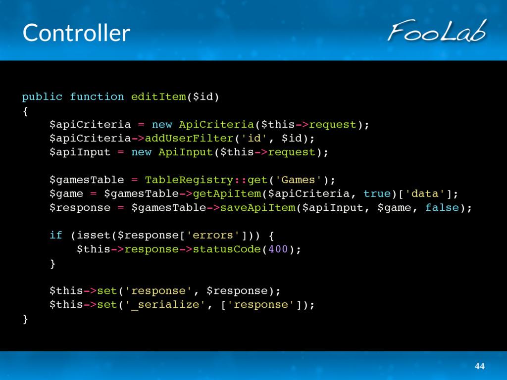 Controller public function editItem($id) { $api...
