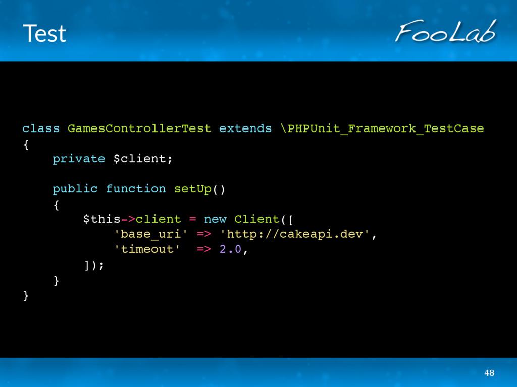 Test class GamesControllerTest extends \PHPUnit...