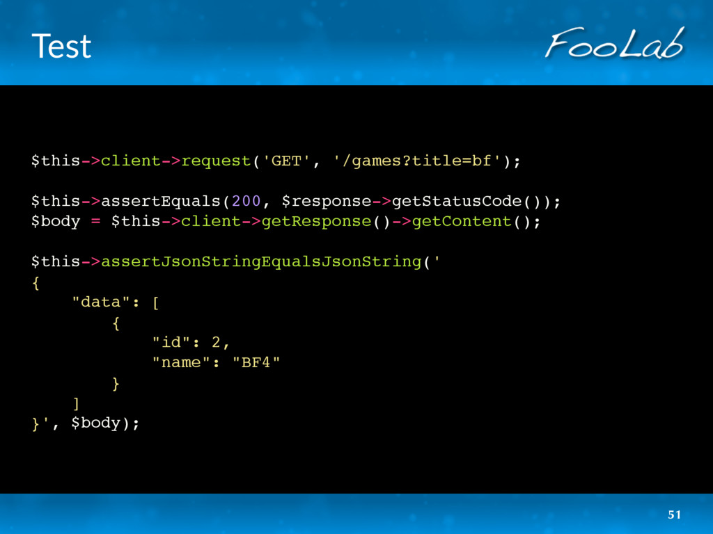 Test $this->client->request('GET', '/games?titl...