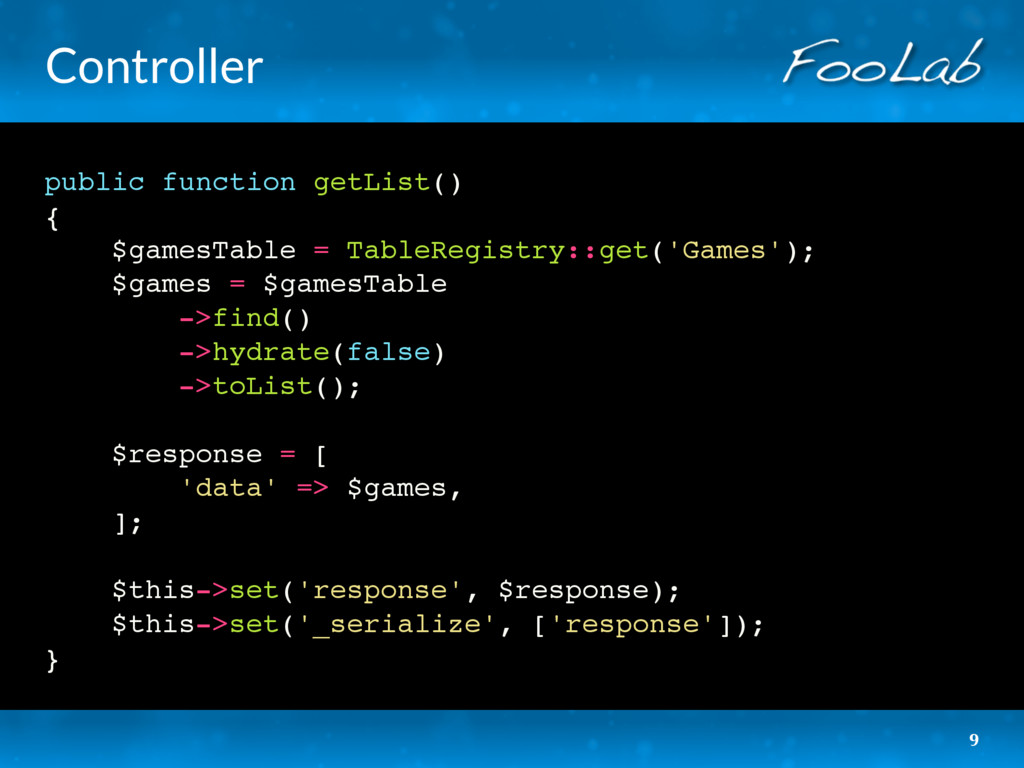 Controller public function getList() { $gamesTa...