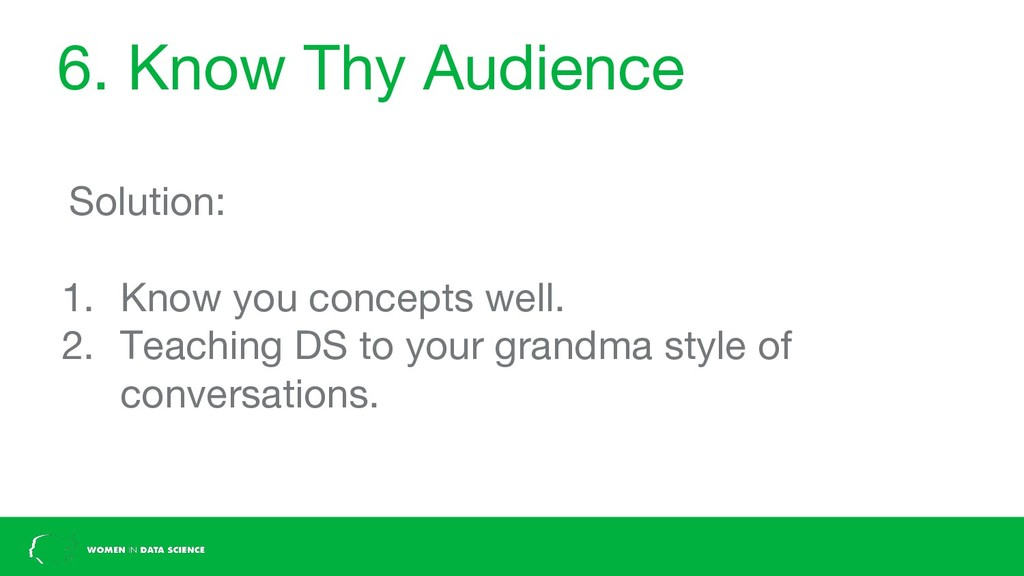 6. Know Thy Audience Solution: 1. Know you conc...