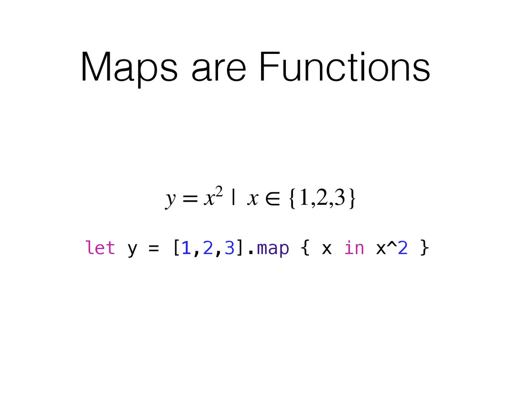 Maps are Functions y = x2 | x ∈ {1,2,3} let y =...
