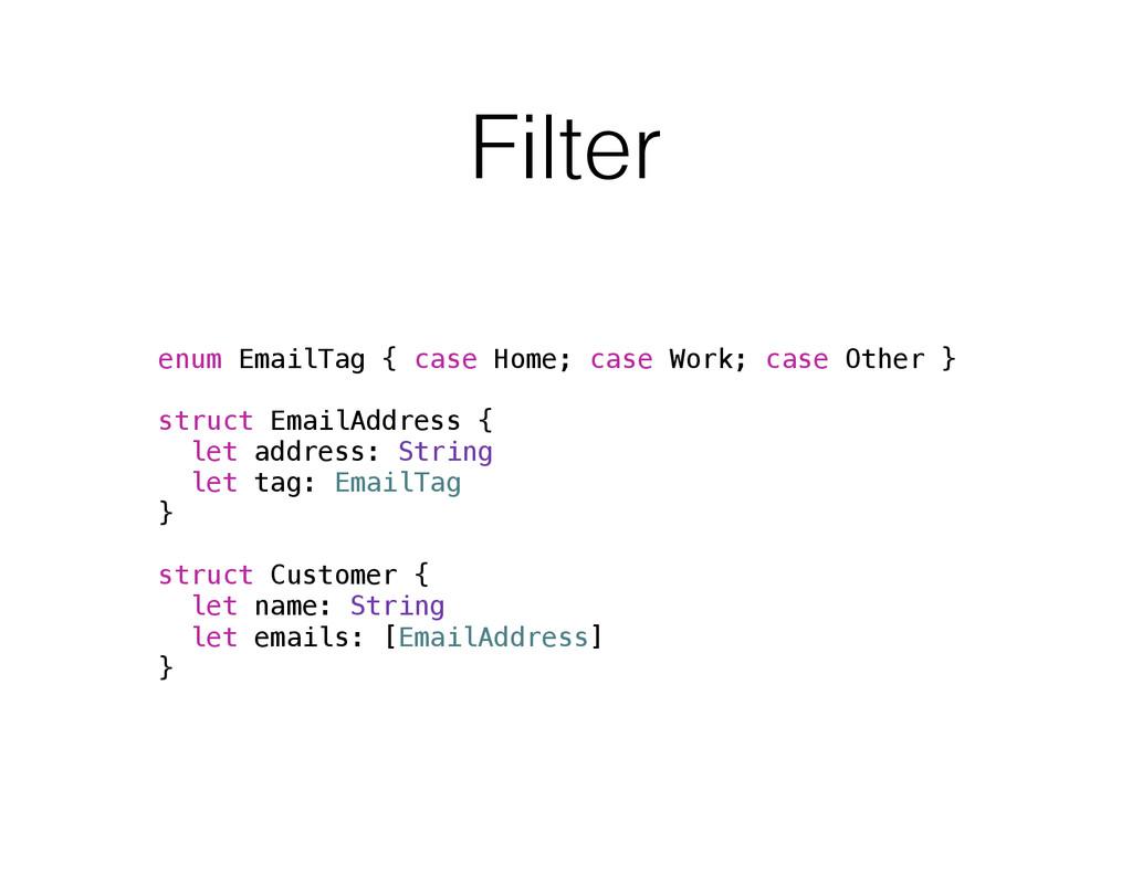 Filter enum EmailTag { case Home; case Work; ca...