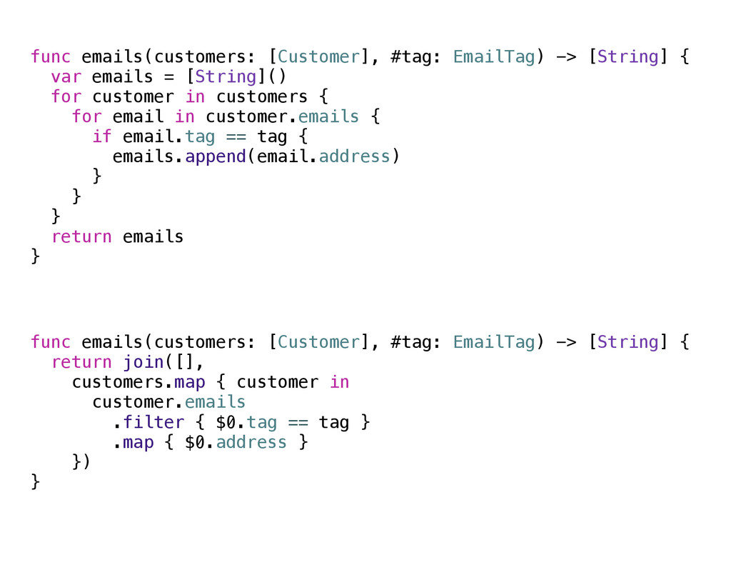func emails(customers: [Customer], #tag: EmailT...