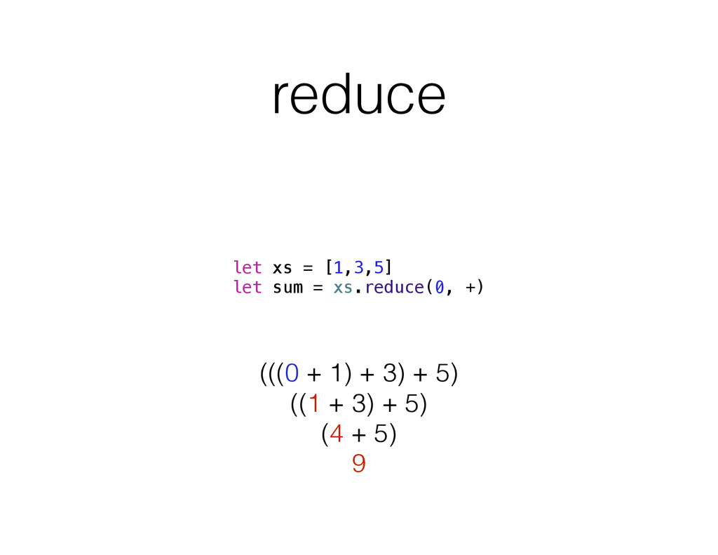 reduce let xs = [1,3,5] let sum = xs.reduce(0, ...