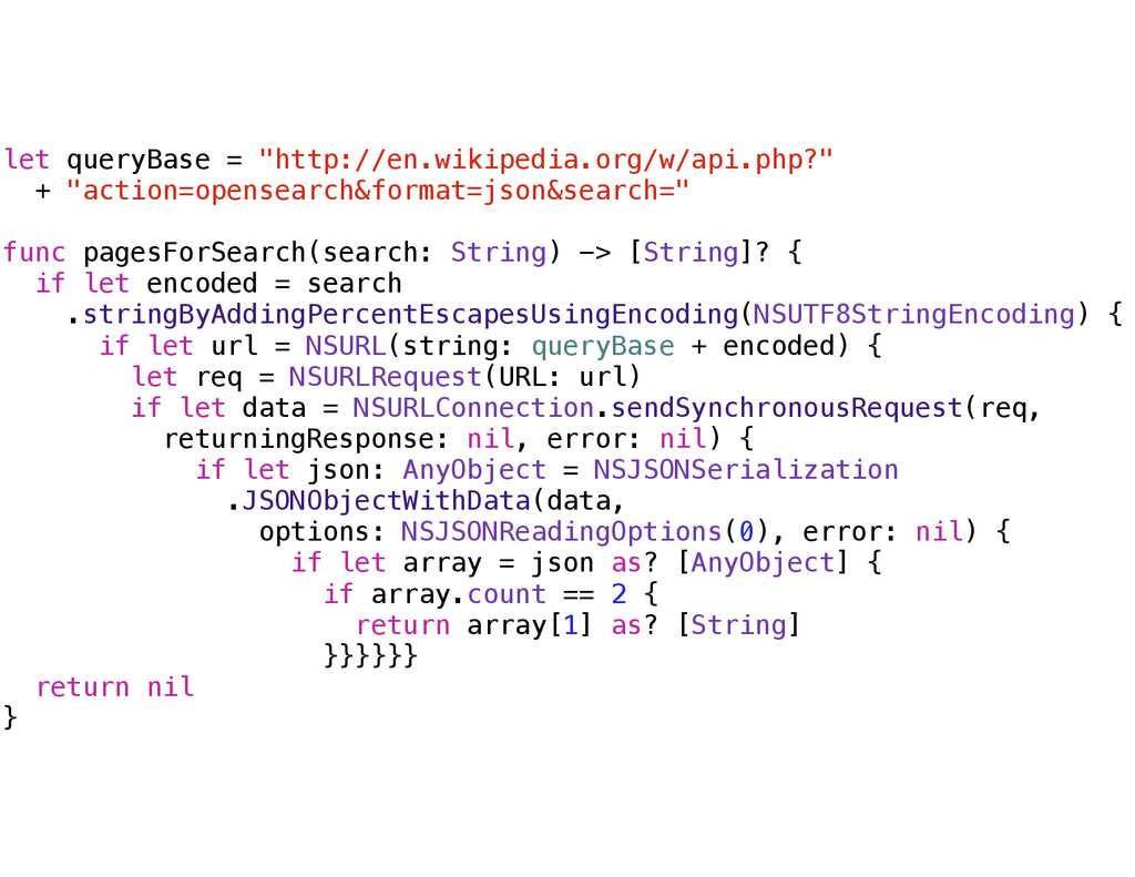 "let queryBase = ""http://en.wikipedia.org/w/api...."