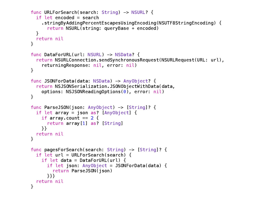 func URLForSearch(search: String) -> NSURL? { i...