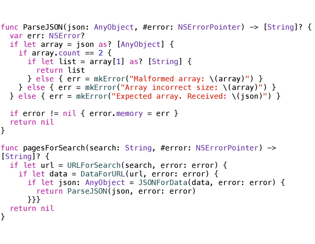 func ParseJSON(json: AnyObject, #error: NSError...