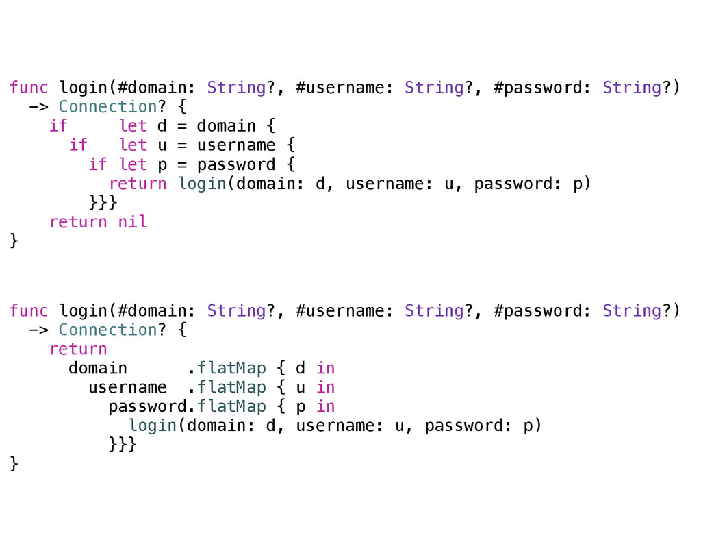 func login(#domain: String?, #username: String?...