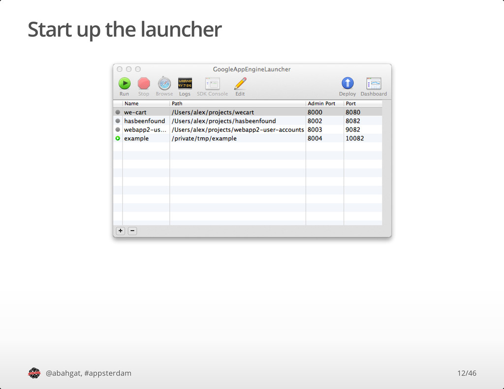 Start up the launcher @abahgat, #appsterdam 12/...