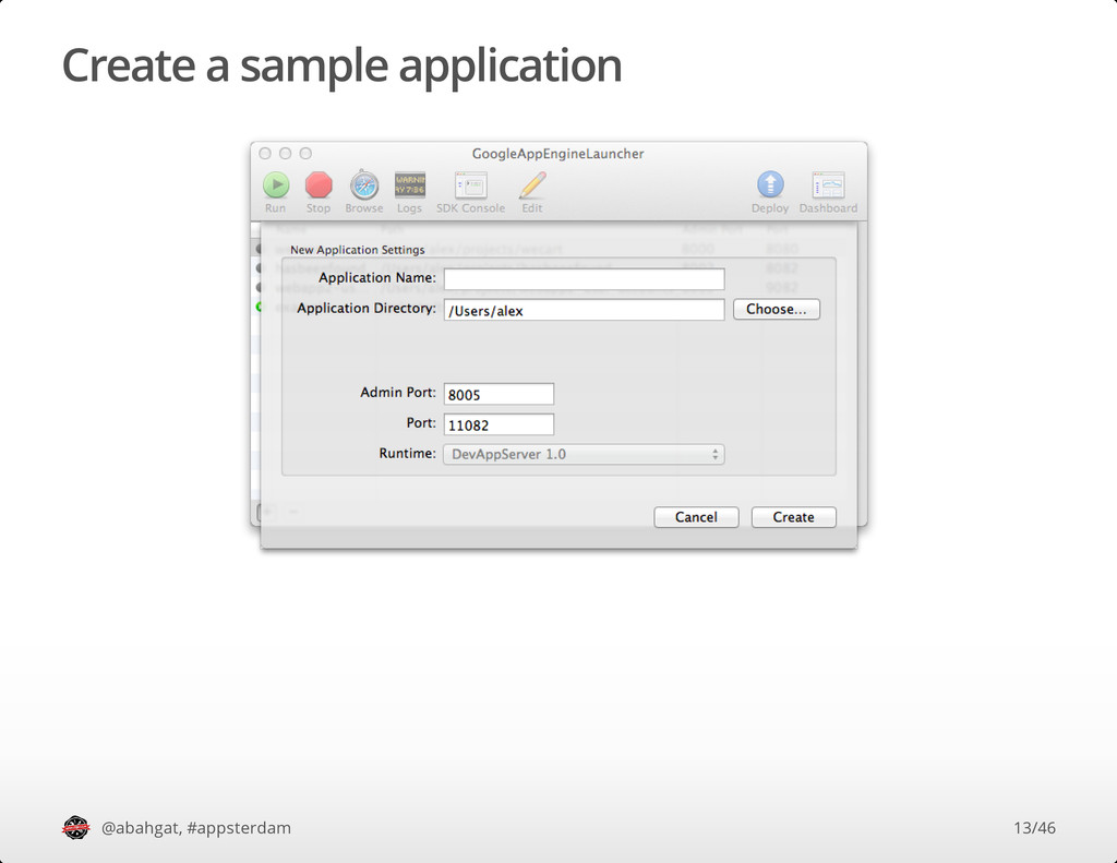 Create a sample application @abahgat, #appsterd...