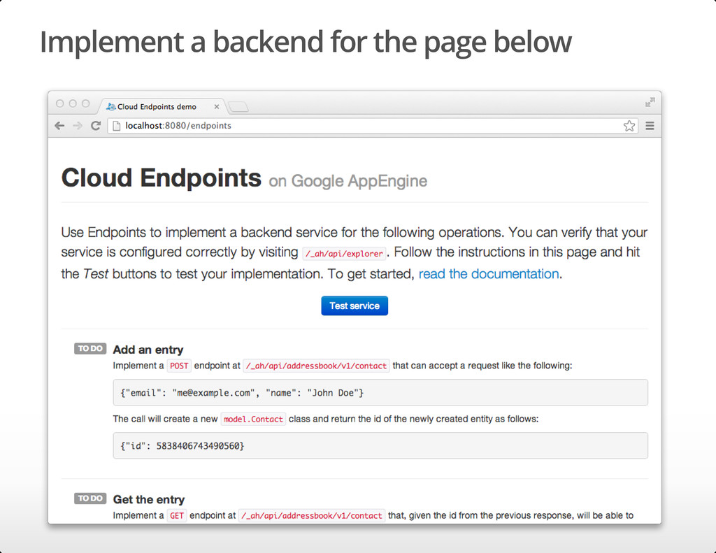 Implement a backend for the page below