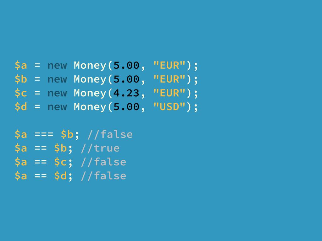 "$a = new Money(5.00, ""EUR""); $b = new Money(5.0..."