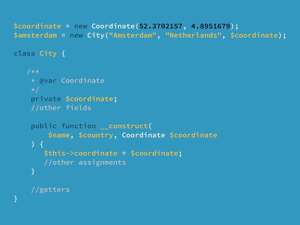 $coordinate = new Coordinate(52.3702157, 4.8951...