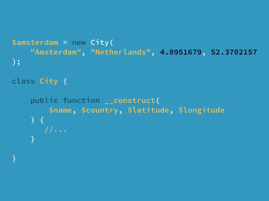 "$amsterdam = new City( ""Amsterdam"", ""Netherland..."