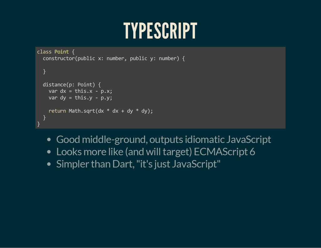 TYPESCRIPT class Point { constructor(public x: ...