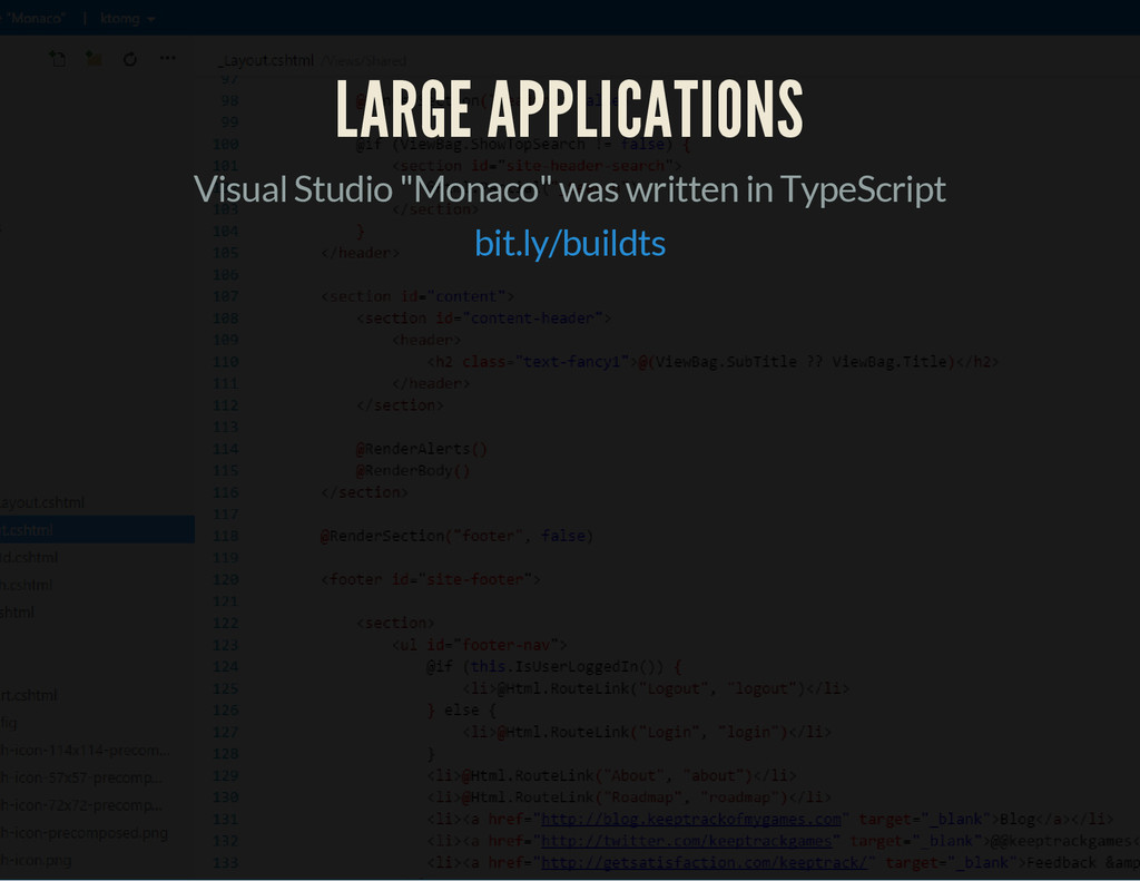 "LARGE APPLICATIONS Visual Studio ""Monaco"" was w..."