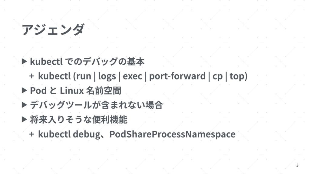 アジェンダ ▶ kubectl でのデバッグの基本 + kubectl (run | logs...