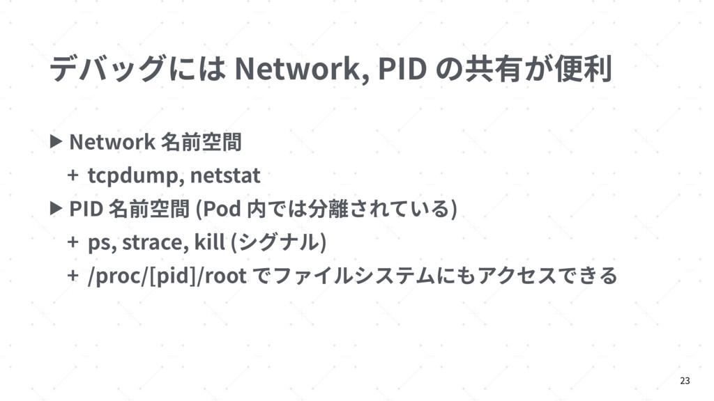 デバッグには Network, PID の共有が便利 ▶ Network 名前空間 + tcp...