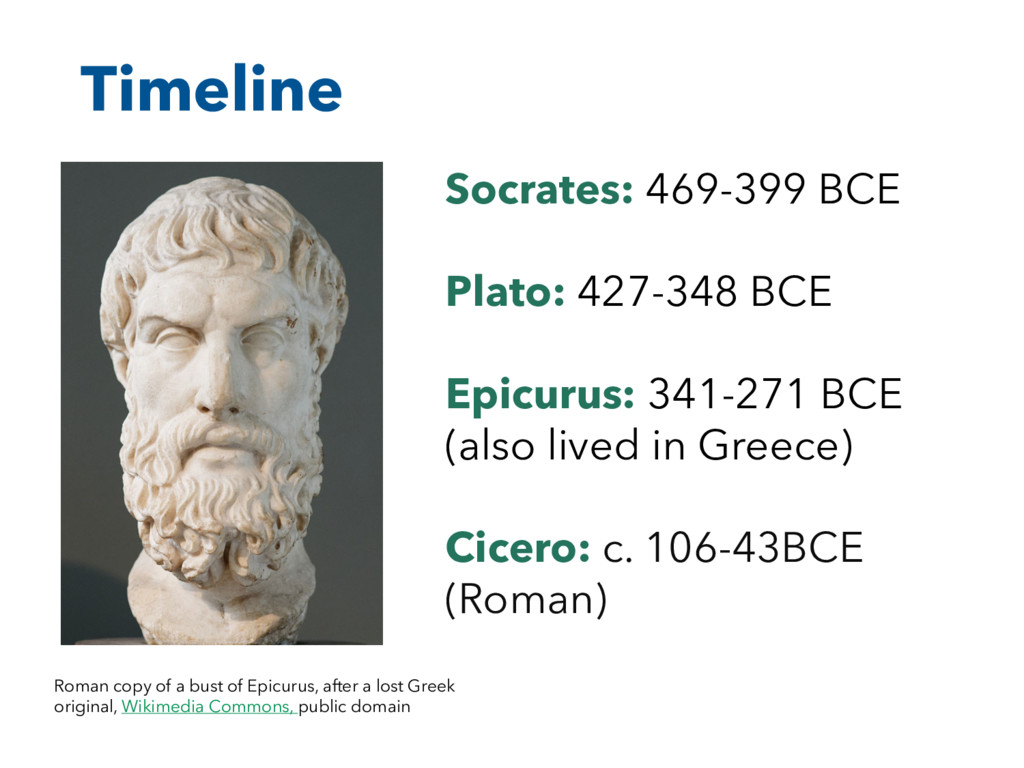 Timeline Roman copy of a bust of Epicurus, afte...