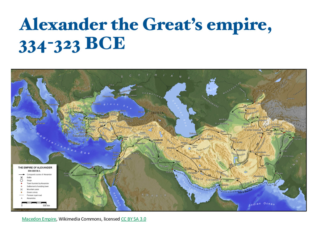 Alexander the Great's empire, 334-323 BCE Maced...