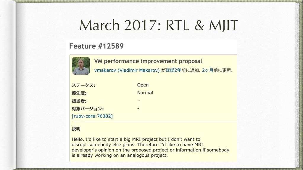 March 2017: RTL & MJIT