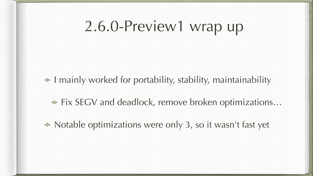 2.6.0-Preview1 wrap up I mainly worked for port...