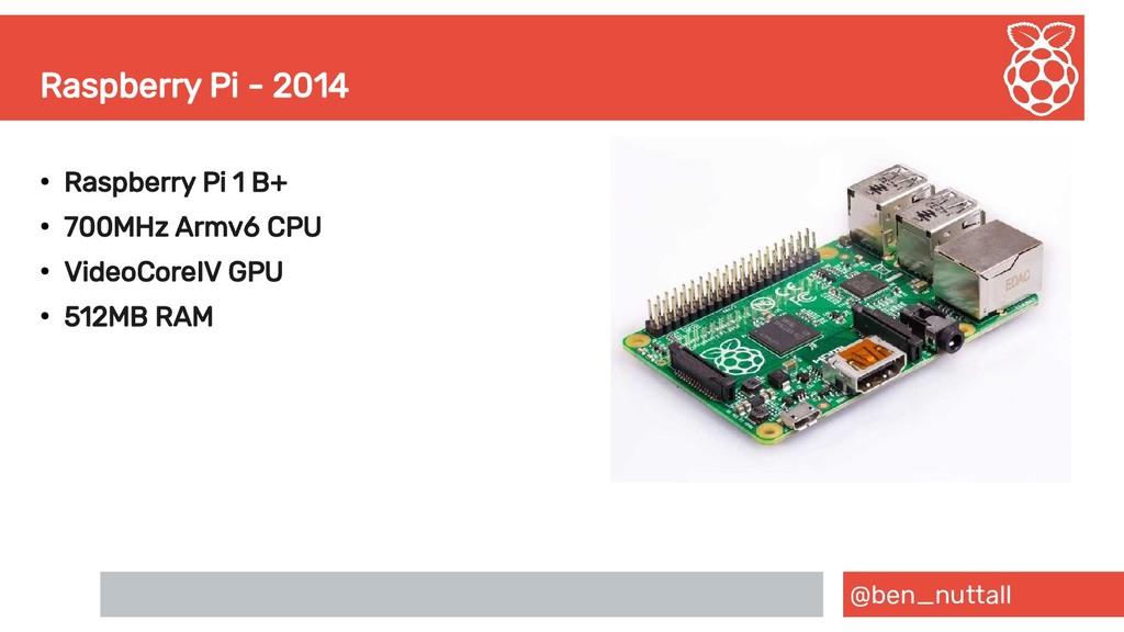 @ben_nuttall Raspberry Pi - 2014 ● Raspberry Pi...