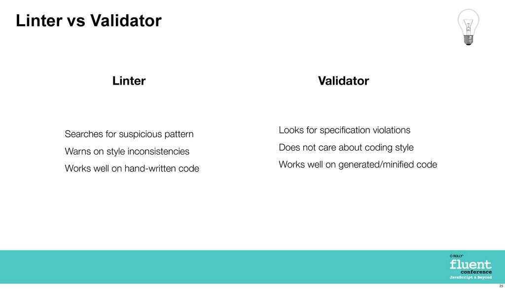 Linter vs Validator Validator Linter Looks for ...