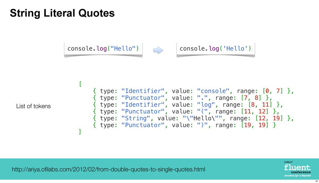 "String Literal Quotes [ { type: ""Identifier"", v..."