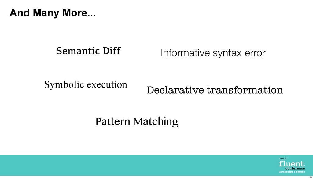 And Many More... Semantic Diff Symbolic executi...