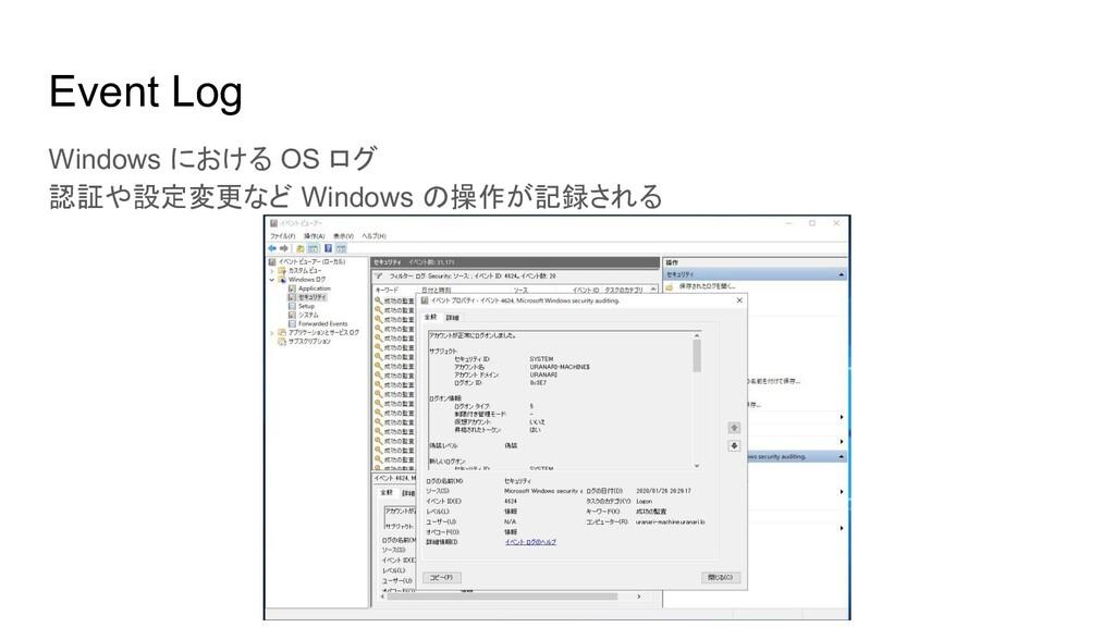 Event Log Windows における OS ログ 認証や設定変更など Windows ...