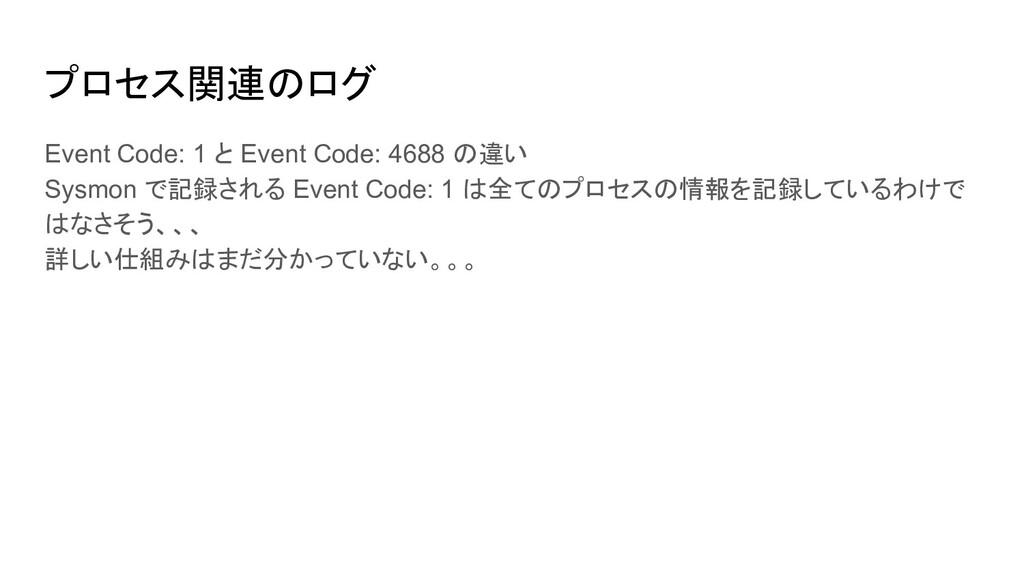 プロセス関連のログ Event Code: 1 と Event Code: 4688 の違い ...