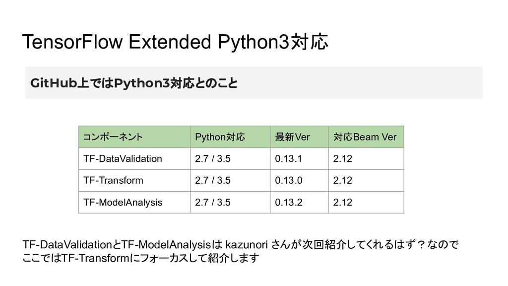 TensorFlow Extended Python3対応 コンポーネント Python対応 ...