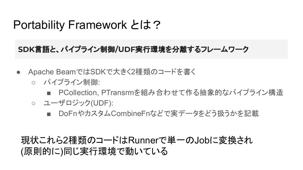 Portability Framework とは? ● Apache BeamではSDKで大き...