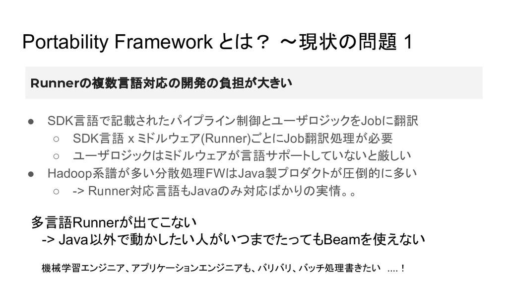 Portability Framework とは? 〜現状の問題 1 ● SDK言語で記載され...