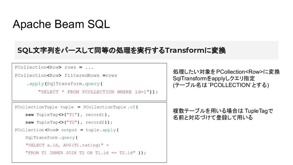 Apache Beam SQL SQL文字列をパースして同等の処理を実行するTransform...