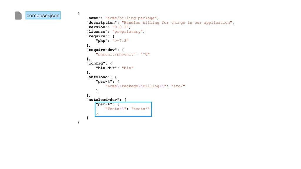 "composer.json { ""name"": ""acme/billing-package"",..."