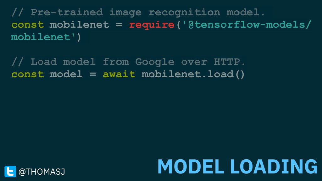 // Pre-trained image recognition model. const m...
