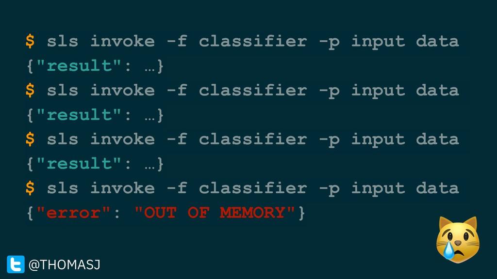 "$ sls invoke -f classifier -p input data {""resu..."