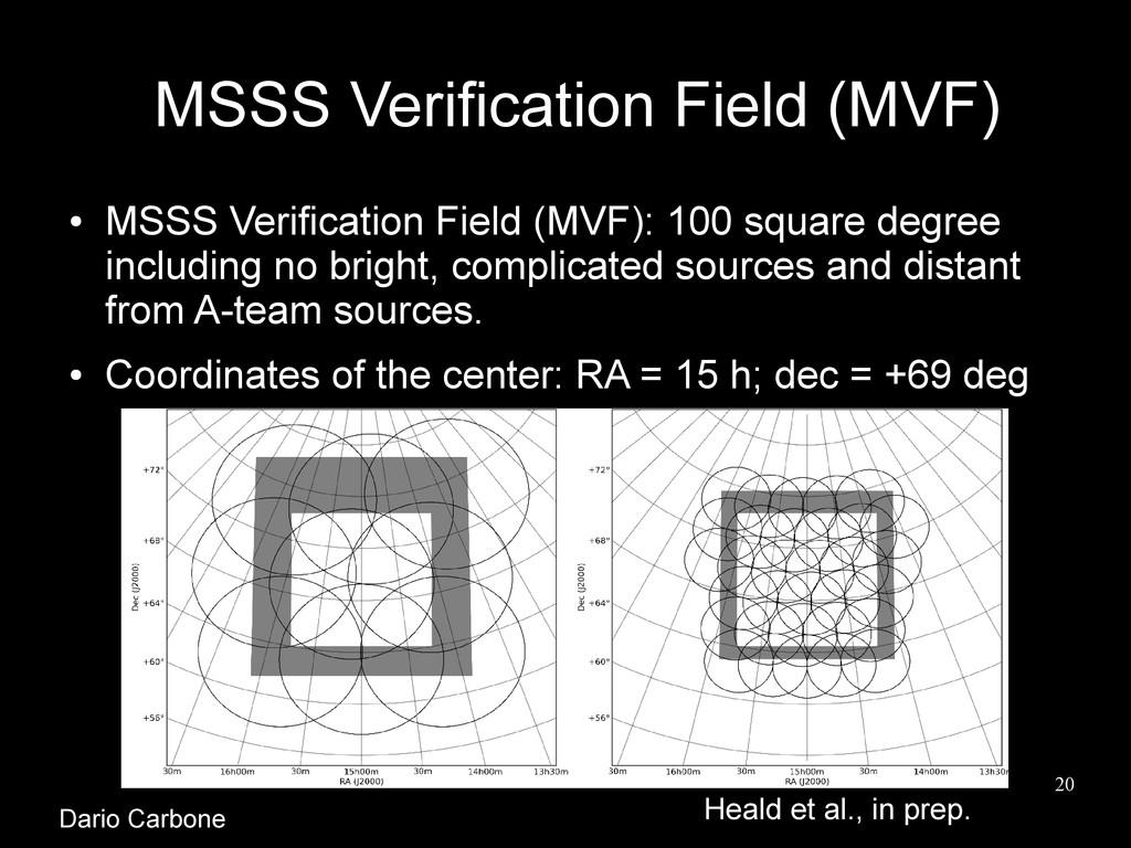 20 MSSS Verification Field (MVF) ● MSSS Verific...