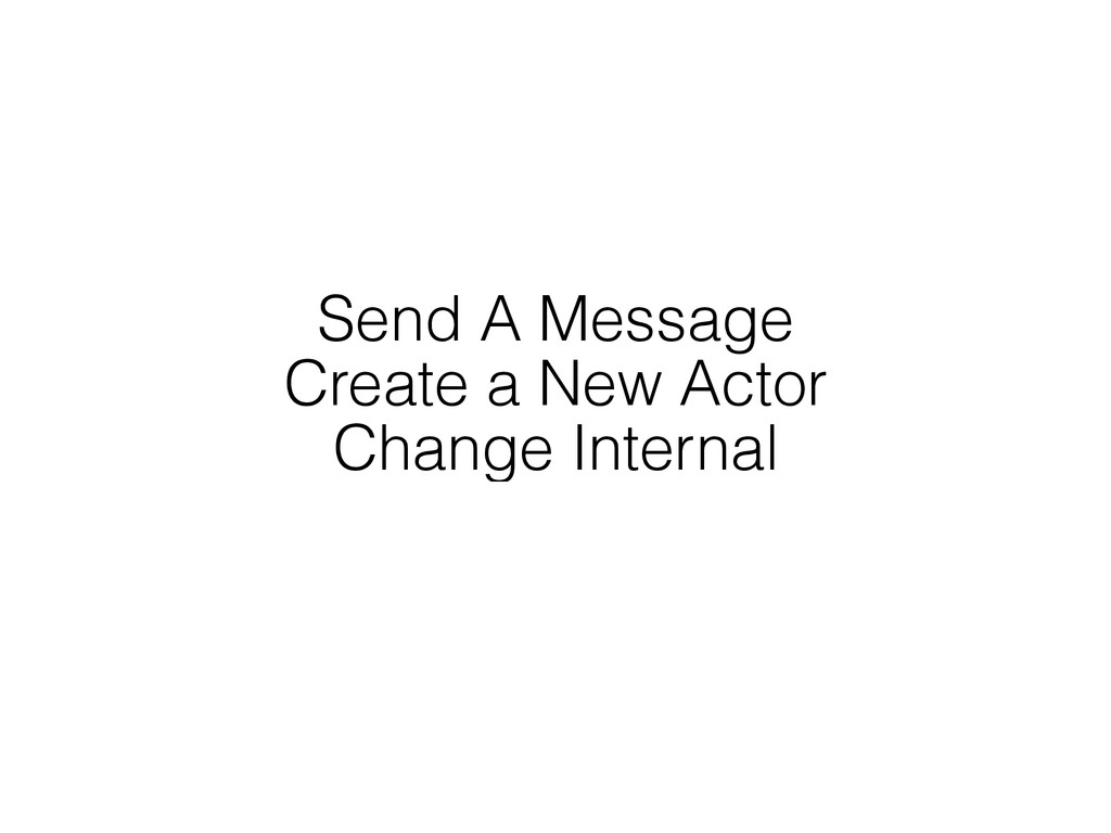 Send A Message Create a New Actor Change Intern...
