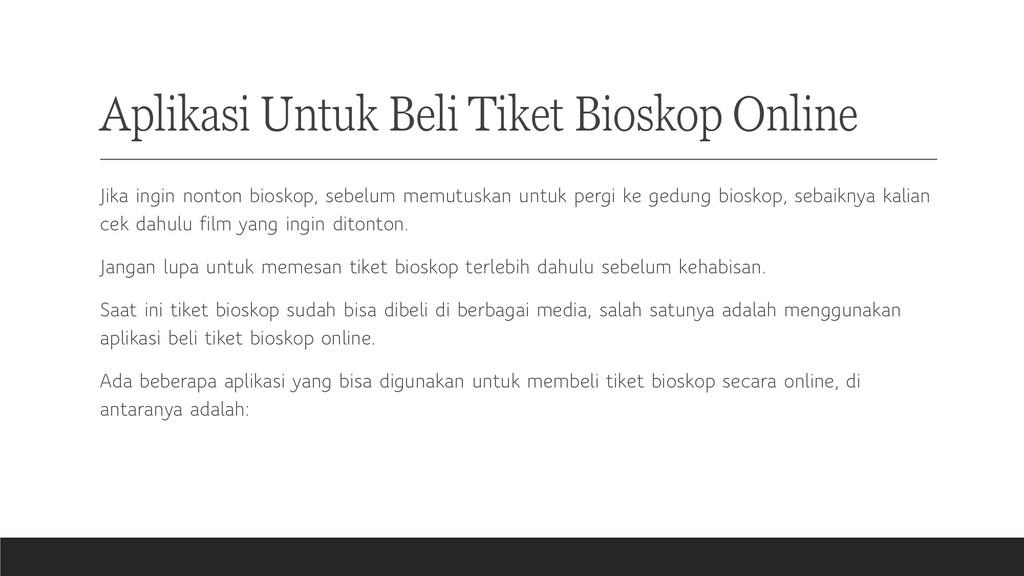 Aplikasi Untuk Beli Tiket Bioskop Online Jika i...
