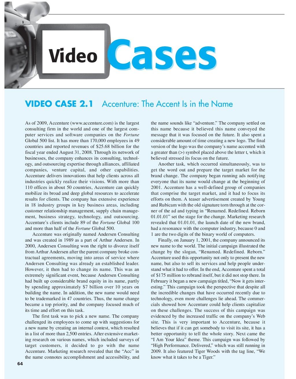Cases Cases Video 64 VIDEO CASE 2.1 Accenture: ...