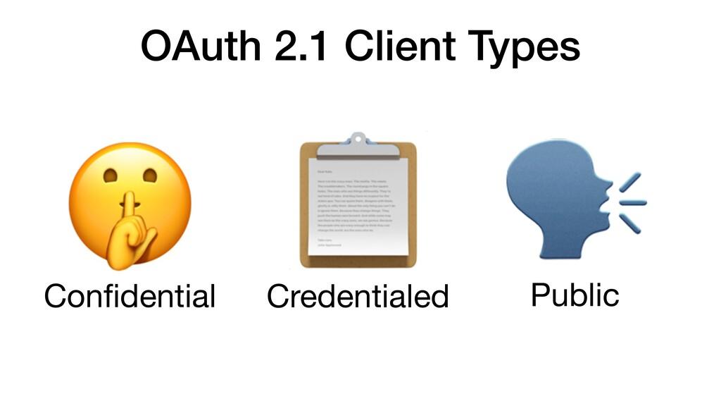 OAuth 2.1 Client Types Public  Confidential  Cre...