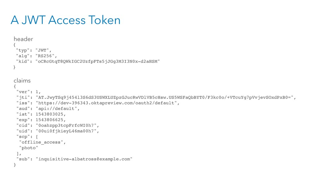 """A JWT Access Token { """"typ"""": """"JWT"""", """"alg"""": """"RS25..."""