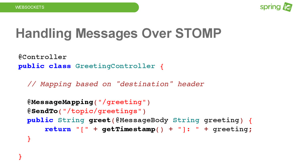 WEBSOCKETS Handling Messages Over STOMP @Contro...