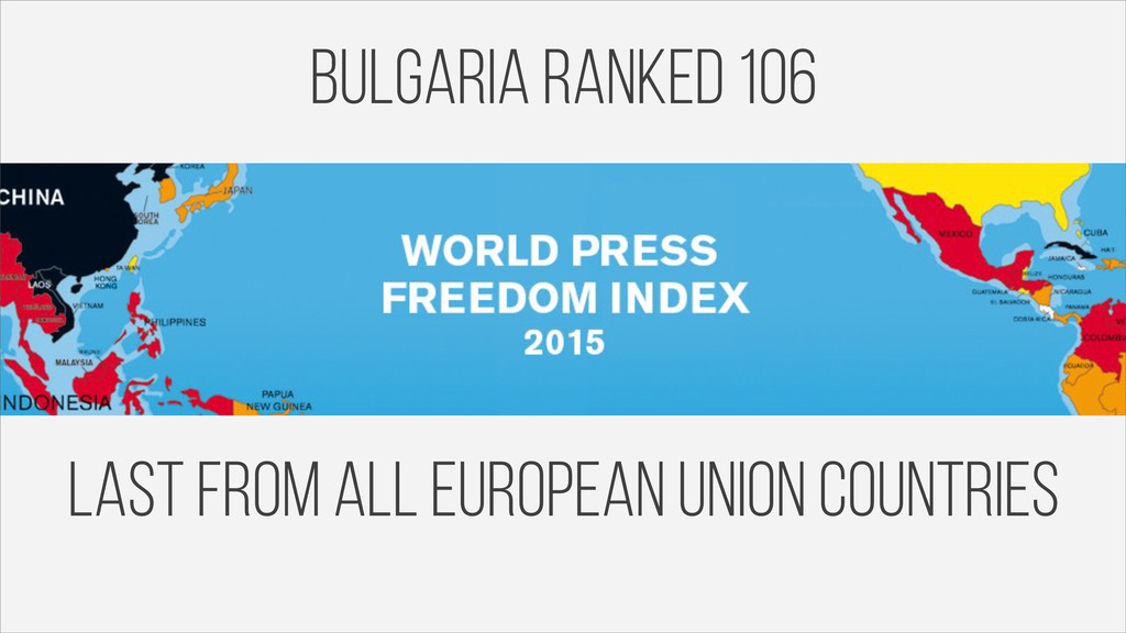 Bulgaria ranked 106 last from all european unio...