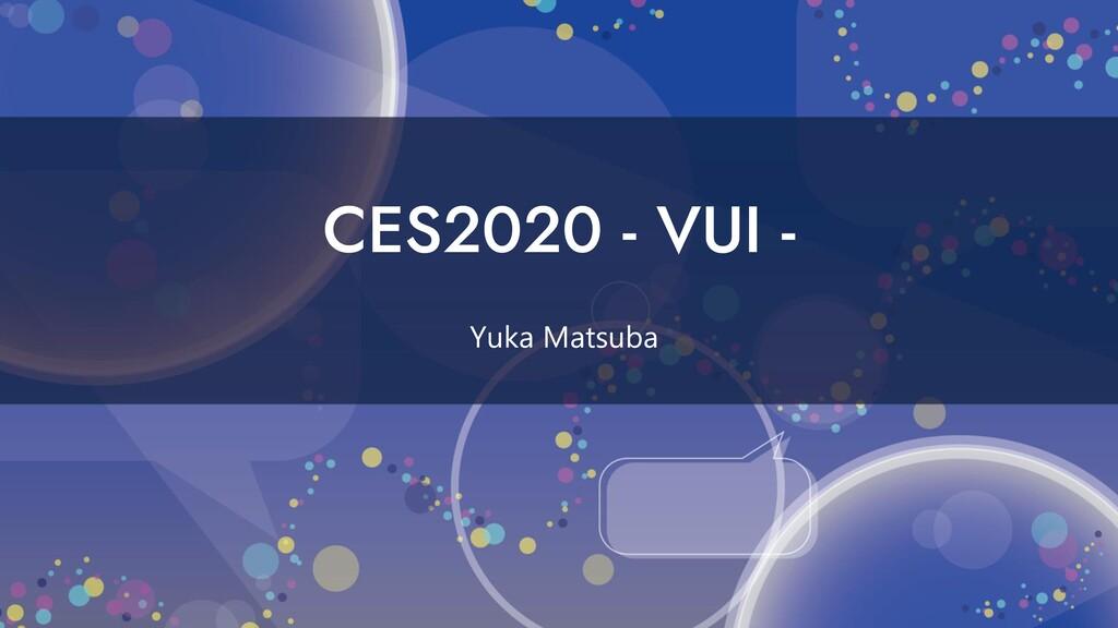 CES2020 - VUI - Yuka Matsuba