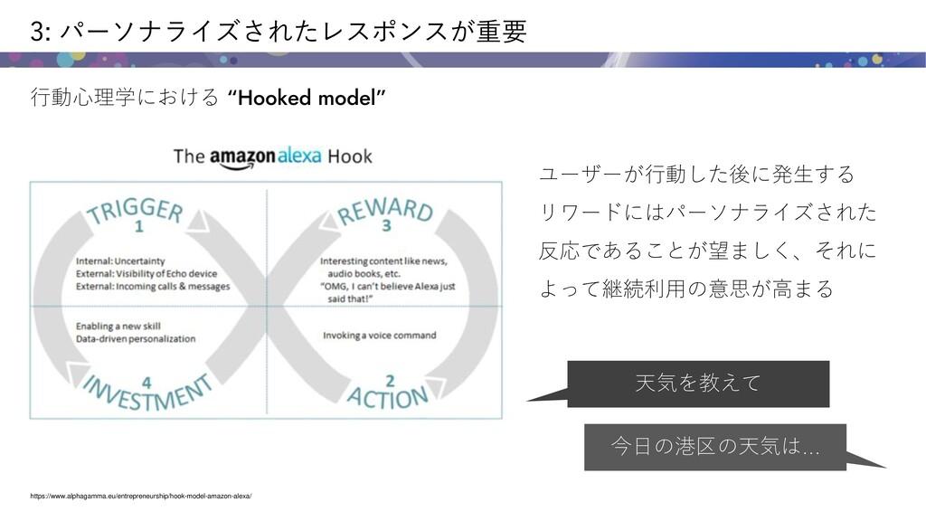 """3: パーソナライズされたレスポンスが重要 行動心理学における """"Hooked model"""" ..."""